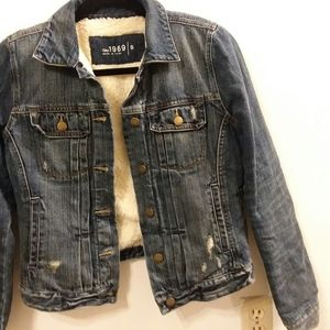 "Gap 1969 ""sherpa"" lined distressed denim jacket"